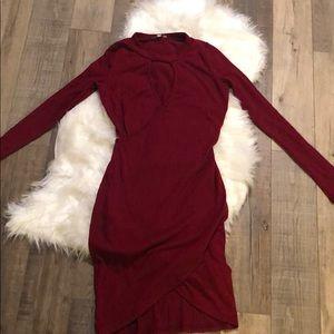 knitted long sleeve mini dress